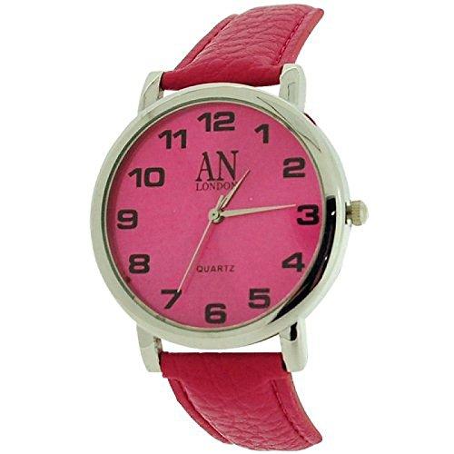 AN London silberf Jumbo Damenuhr tiefrosa Zifferblatt PU Armband 8371B 10