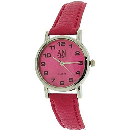 AN London silberf Damenuhr tief rosa Zifferblatt PU Armband 8371S 10
