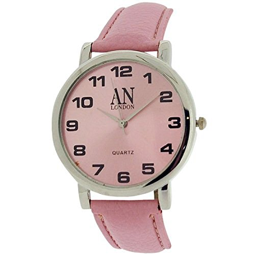 AN London silberf Jumbo Damenuhr rosa Zifferblatt PU Armband 8371B 09