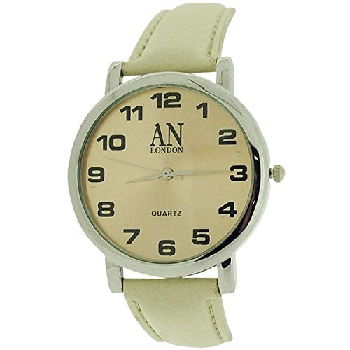 AN London silberf Jumbo beige Zifferblatt PU Armband 8371B 04