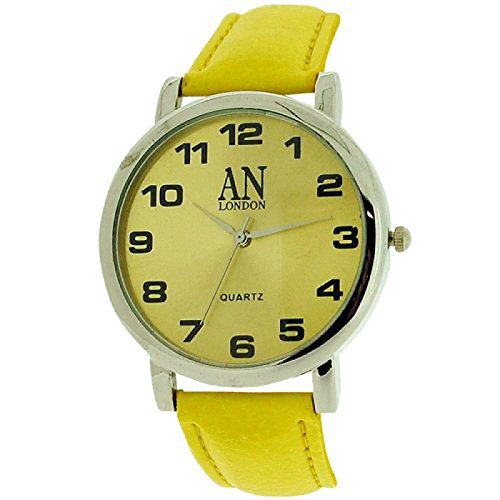 AN London silberf Jumbo Damenuhr gelbes Zifferblatt PU Armband 8371B 03