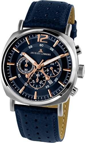 Jacques Lemans Herren-Armbanduhr Analog Quarz Leder 1-1645I