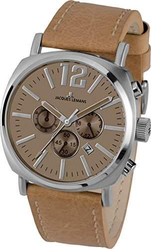Jacques Lemans Herren-Armbanduhr Analog Quarz Leder 1-1645F