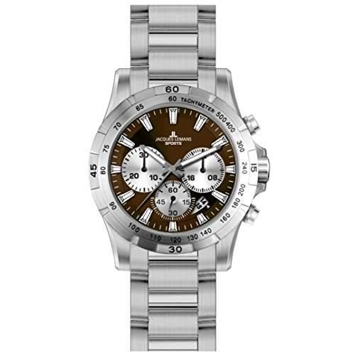 Jacques Lemans 1-1670I1 MONTREAL Chronograph Uhr Herrenuhr Edelstahl 100m Analog Chrono Datum braun