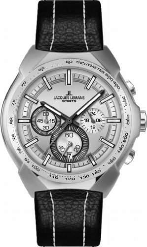 Jacques Lemans Sports Herren-Armbanduhr XL Juergen Melzer Collection Chronograph Leder 1-1675B
