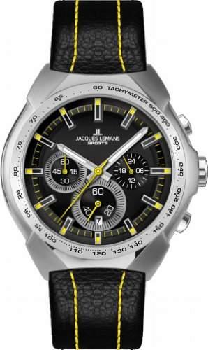 Jacques Lemans Sports Herren-Armbanduhr XL Juergen Melzer Collection Chronograph Leder 1-1675E