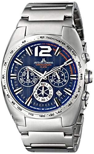 Jacques Lemans Herren-Armbanduhr XL Sport Chronograph Quarz Edelstahl 1-1721C