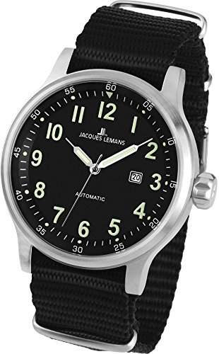 Jacques Lemans Herren-Armbanduhr XL Sport Analog Automatik Nylon 1-1723C
