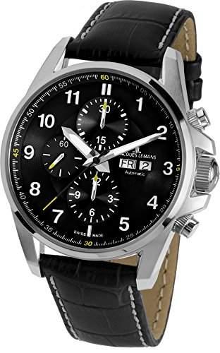 Jacques Lemans Herren-Armbanduhr XL Liverpool Automatic Chronograph Automatik Leder 1-1750A