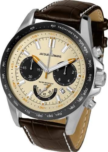 Jacques Lemans Herren-Armbanduhr XL Chronograph Quarz Leder 1-1756B