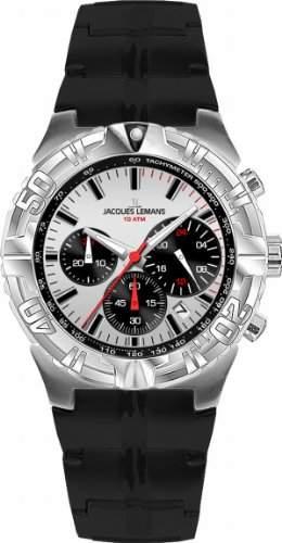 Jacques Lemans Herren-Armbanduhr XL Sport Chronograph Quarz Kautschuk 1-1757D
