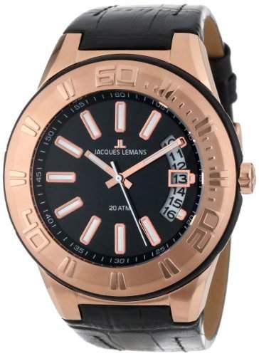 Jacques Lemans Unisex-Armbanduhr Miami Analog Quarz Leder 1-1770G