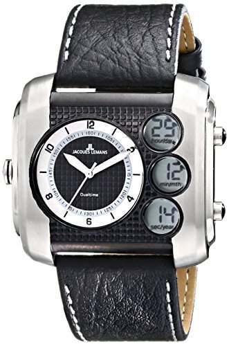 Jacques Lemans Herren-Armbanduhr XL Madrid Analog - Digital Quarz Leder 1-1780C