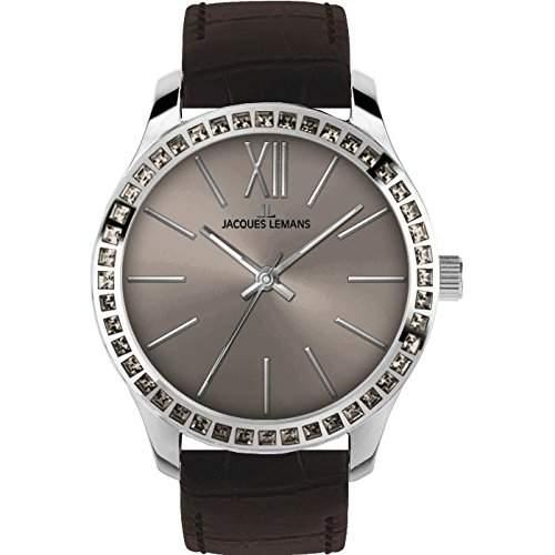 Jacques Lemans Rome Damen 37mm Schwarz Leder Armband Mineral Glas Uhr 1-1841L