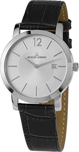 Jacques Lemans Unisex-Armbanduhr Analog Quarz Leder 40-1B