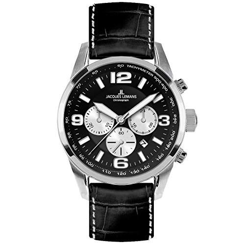 Jacques Lemans 40-5A Chronograph Uhr Herrenuhr Lederarmband Edelstahl 100m Analog Chrono Datum schwarz UVP € 179,--
