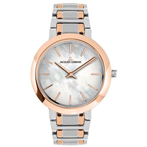Jacques Lemans 1 1824d Uhr fuer Frauen Edelstahl Armband