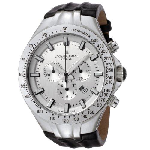 Jacques Lemans Herren Armbanduhr Geneve Chronograph Quarz Leder G 217B