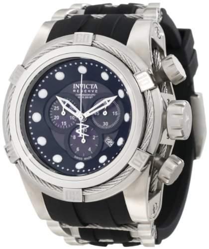 Invicta Bolt Herren Armbanduhr mit Schwarz Zifferblatt Chronograph-Anzeige auf Schwarz PU Gurt 0826