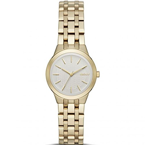DKNY Damen Armbanduhr 28mm Armband Edelstahl Gold Gehaeuse Quarz Zifferblatt Silber Analog NY2491