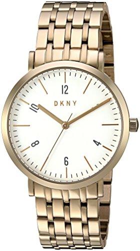 DKNY Damen Armbanduhr 36mm Armband Edelstahl Gold Gehaeuse Quarz Zifferblatt Weiss Analog NY2503