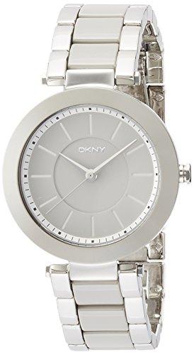 DKNY Damen Armbanduhr 36mm Armband Keramik Silber Gehaeuse Batterie Zifferblatt Grau Analog NY2462
