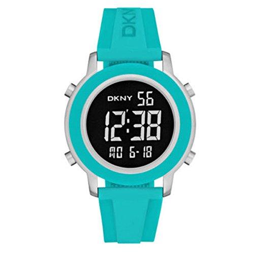 DKNY Damen Armbanduhr 40mm Armband Kautschuk Blau Gehaeuse Edelstahl Batterie Zifferblatt Schwarz NY2326