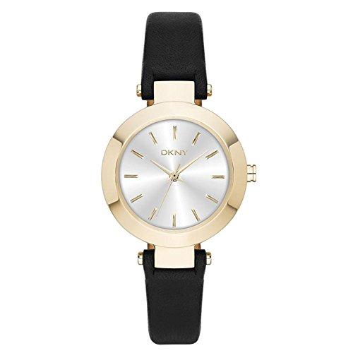 DKNY NY2413 Uhr Damenuhr Lederarmband Edelstahl 50m Analog schwarz gold
