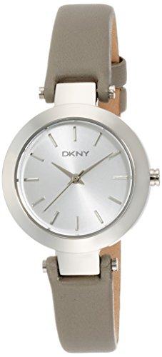 DKNY Stanhope Damen Armbanduhr 28mm Armband Leder Grau Gehaeuse Edelstahl Batterie Analog NY2456