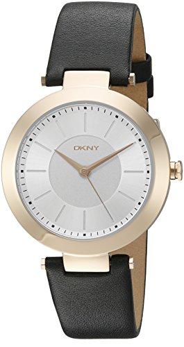DKNY Damen Stanhope Quarz Edelstahl und Schwarz Leder Casual Armbanduhr Modell ny2468