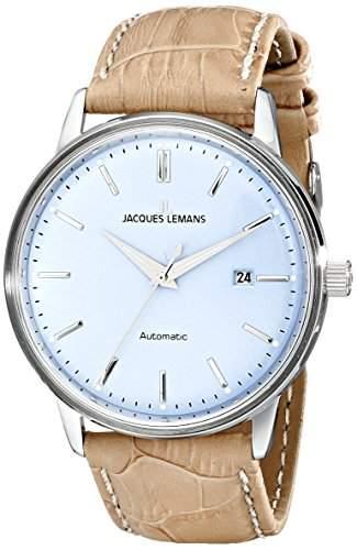 Jacques Lemans Unisex-Armbanduhr Classic Analog Automatik Leder N-206D
