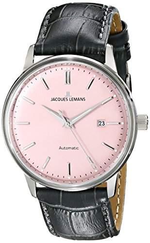 Jacques Lemans Unisex-Armbanduhr Classic Analog Automatik Leder N-206F