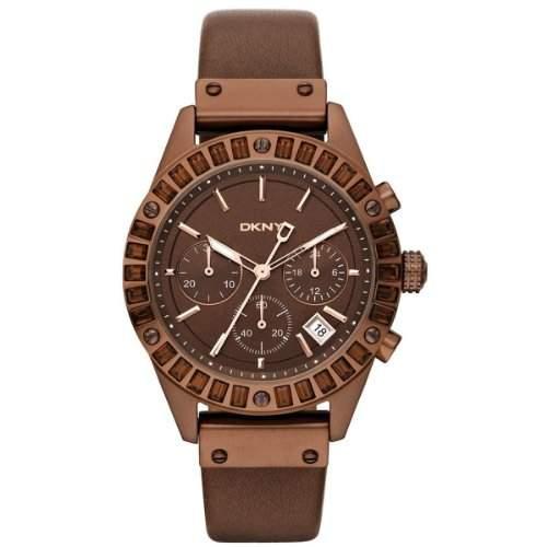 DKNY Damen-Armbanduhr Chronograph Quarz Leder NY8654