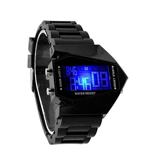 Herren LED Armbanduhr, Airforce Military Trend Style Schwarz , mit 6 LED Displaybeleuchtungen, Silikon Armband