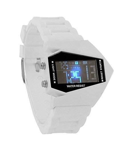 Herren LED Armbanduhr, Airforce Military Trend Style WEIss , mit 6 LED Displaybeleuchtungen, Silikon Armband