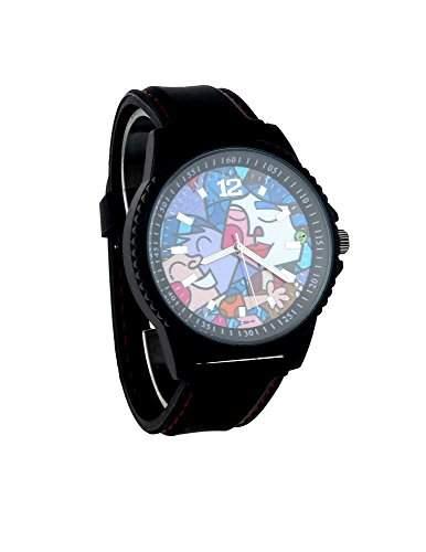 Herren Armbanduhr, Design Gemaelde Uhr Picasso Schwarz; hochwertiges Silikon Armband; 5cm XL Gehaeuse