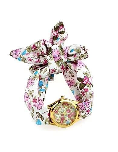Bandana Armbanduhr, Damenarmbanduhr Blumenmuster, Wickeluhr mit Stoffarmband, fuer jedes Armgelenk geeignet, Beige-Rosè goldfarben