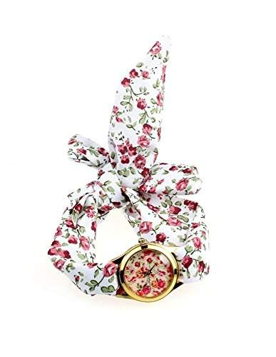 Bandana Armbanduhr, Damenarmbanduhr Blumenmuster, Wickeluhr mit Stoffarmband, fuer jedes Armgelenk geeignet, Rot-weisscrem Rosen goldfarben