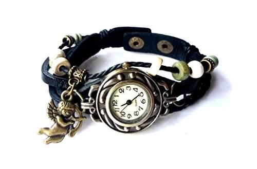 """Vintage Damen Armbanduhr mit Engel, im Retro Wickellook, Lagenlook """"Amor"""" dunkelbraunes Armband, verstellbare Groesse"""