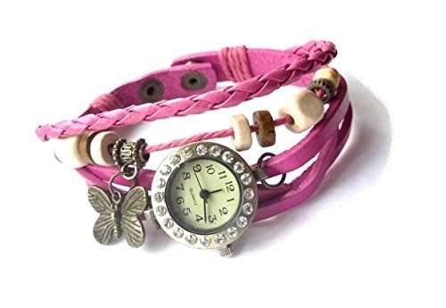 """Damen Vintage Armbanduhr im Retro Wickellook, Lagenlook """"BUTTERFLY"""" mit Strass, Fuchsia, 2 verstellbare Groessen"""