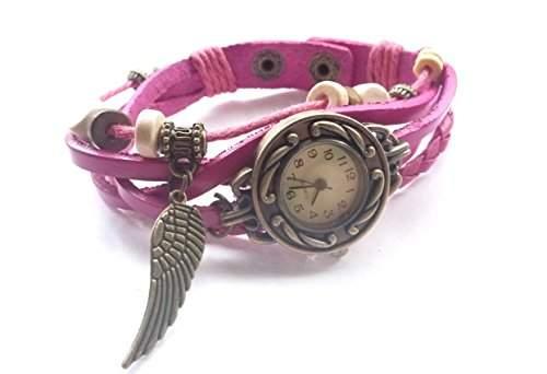 """Damen Vintage Armbanduhr im Retro Wickellook, Lagenlook """"Engelsfluegel"""" Fuchsia, verstellbare Groesse"""