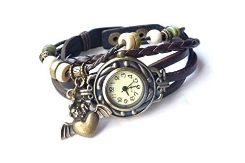 """Damen Vintage Armbanduhr im Retro Wickellook, Lagenlook """"Flyheart"""" schwarzes Armband, verstellbare Groesse"""