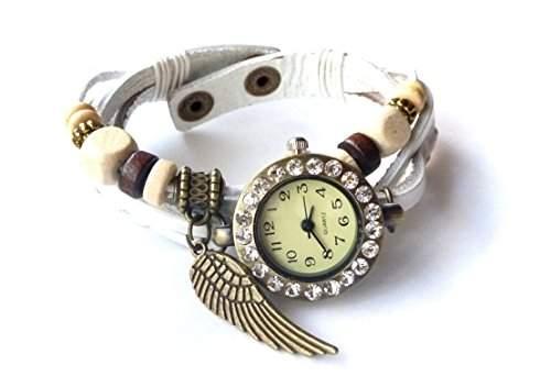 """Damen Vintage Armbanduhr im Retro Wickellook, Lagenlook """"Engelsfluegel"""" mit Strass, weiss, verstellbare Groesse"""