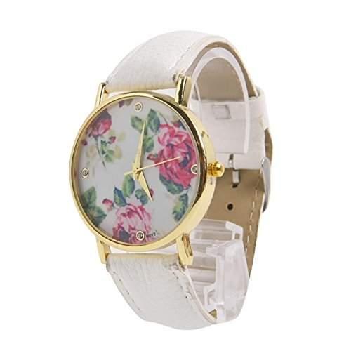 Trendige Damen Armbanduhr, Romantic Rosen Look, weiss, Dornschliesse, Strass Ziffernblatt
