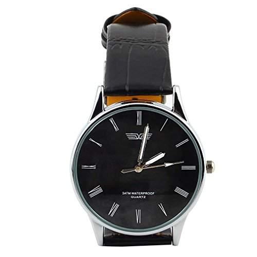 klassische Herren Armbanduhr, roemische Zahlen Ziffernblatt schwarz, Dornschliesse, schwarzes Armband