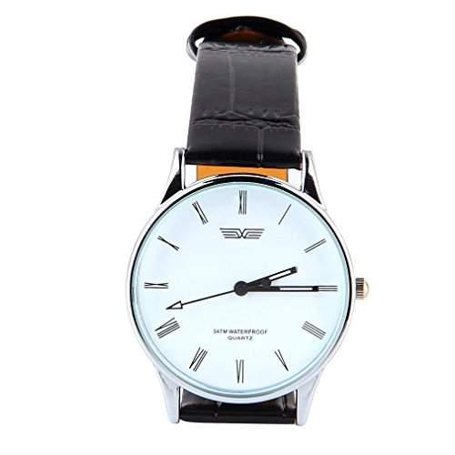 klassische Herren Armbanduhr, roemisches Ziffernblatt in Weiss, Dornschliesse, schwarzes Armband