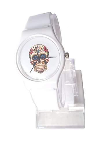 Damen Armbanduhr weiss, Skull, Totenkopf, Candy Schaedel Design Bunt, Dornschliesse ohne Metall
