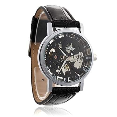 Skeleton Herren Armbanduhr, roemisches Ziffernblatt in Schwarz, Dornschliesse, schwarzes Armband