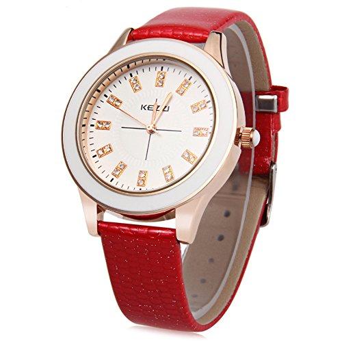 Leopard Shop kezzi K 753 Damen Quarzuhr Kuenstliche Diamant Zifferblatt Fashion Wasser Widerstand Armbanduhr Rot