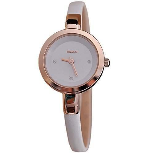Kezzi Damen Armbanduhr Smart Analog Quarz weiss  rosegold jw360